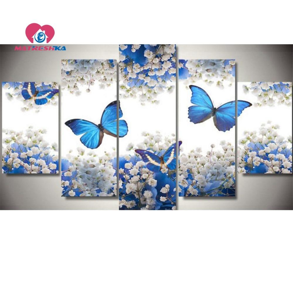 Diamant peinture papillon photos de cristaux 5D diamant mosaïque diamant broderie triptyque papillon 5d strass art Kraft