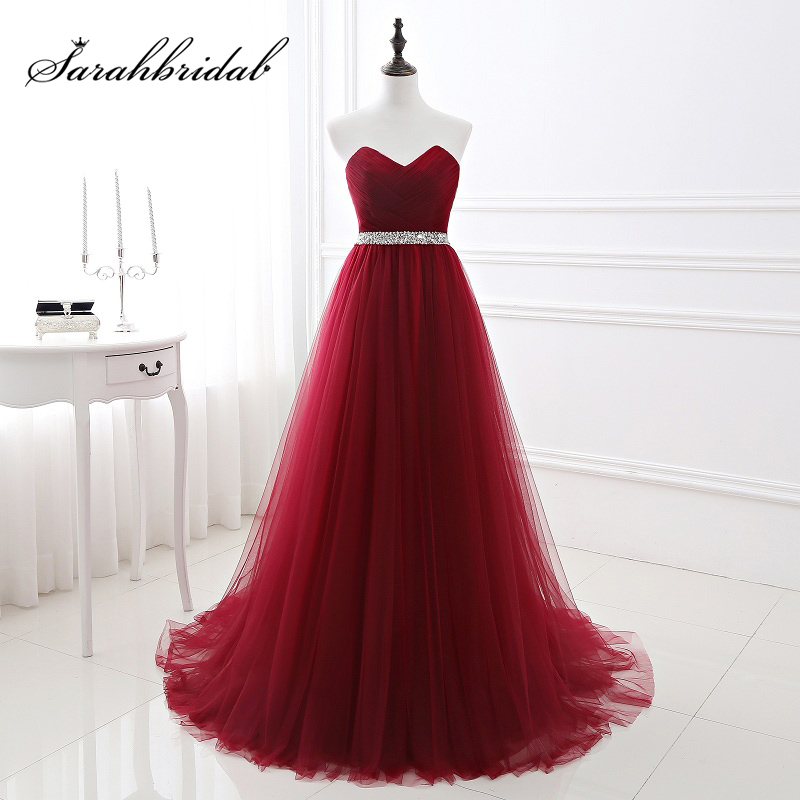 2018 Cheap Wine Red Long Evening Dresses with Sequined Sashes Pleat Tulle Sweetheart Lace Up Back Formal Prom Party Gown SQS083 image