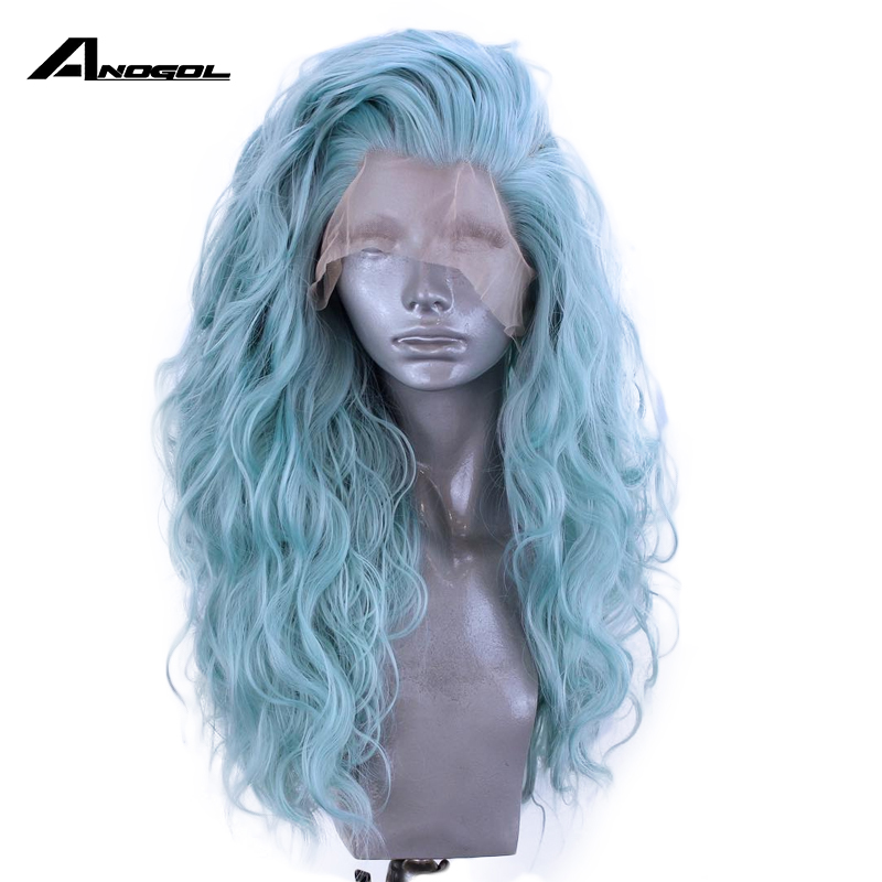Anogol Mint Green Brand New High Temperature Fiber Water Wave Free Part Full Hair Long Wigs Synthetic Lace Front Wig For Women