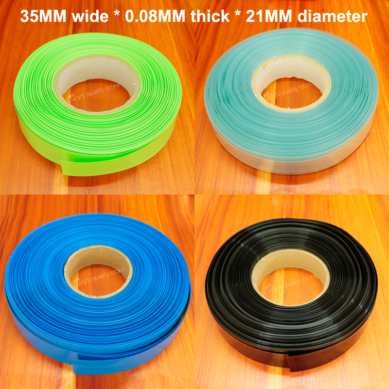 5m/lot Lithium <font><b>battery</b></font> heat shrinkable <font><b>sleeve</b></font> <font><b>21700</b></font> <font><b>battery</b></font> package sheath PVC shrinkage insulation film tube diameter 21MM image