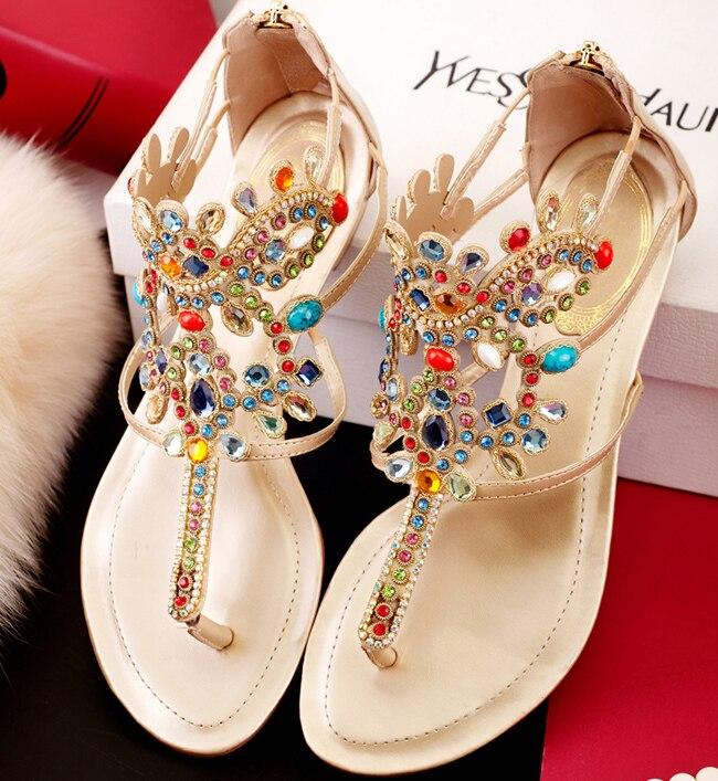 014d429a1 fashion 2014 new Bohemia Rhinestone women sandals Rome jewels flat sandals  genuine leather ladies shoes flip flops size 35-43