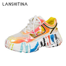 Summer Sneakers Women 2019 Platform Colorful Chunky Trainers Shoes Breathable Mesh Footwear Graffiti Casual