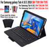 Funda para teclado Bluetooth para Samsung Galaxy Tab A 10,5, 2018, A6, 10,1, 2016, 9,7, 2015, SM-T590, SM-T595, SM-T580, SM-T585