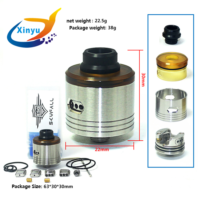 SXK SKYFALL RDA 316 Stainless Steel Bottom Oiling 22mm Tank For 510 Thread Vaporizer Box Mod Cigarette Electronic Drip Atomizer