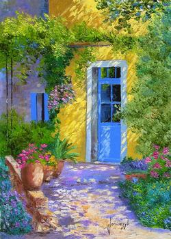 High quality Oil painting Canvas Reproductions The blue door. PROVENCE By Jean Marc Janiaczyk hand painted