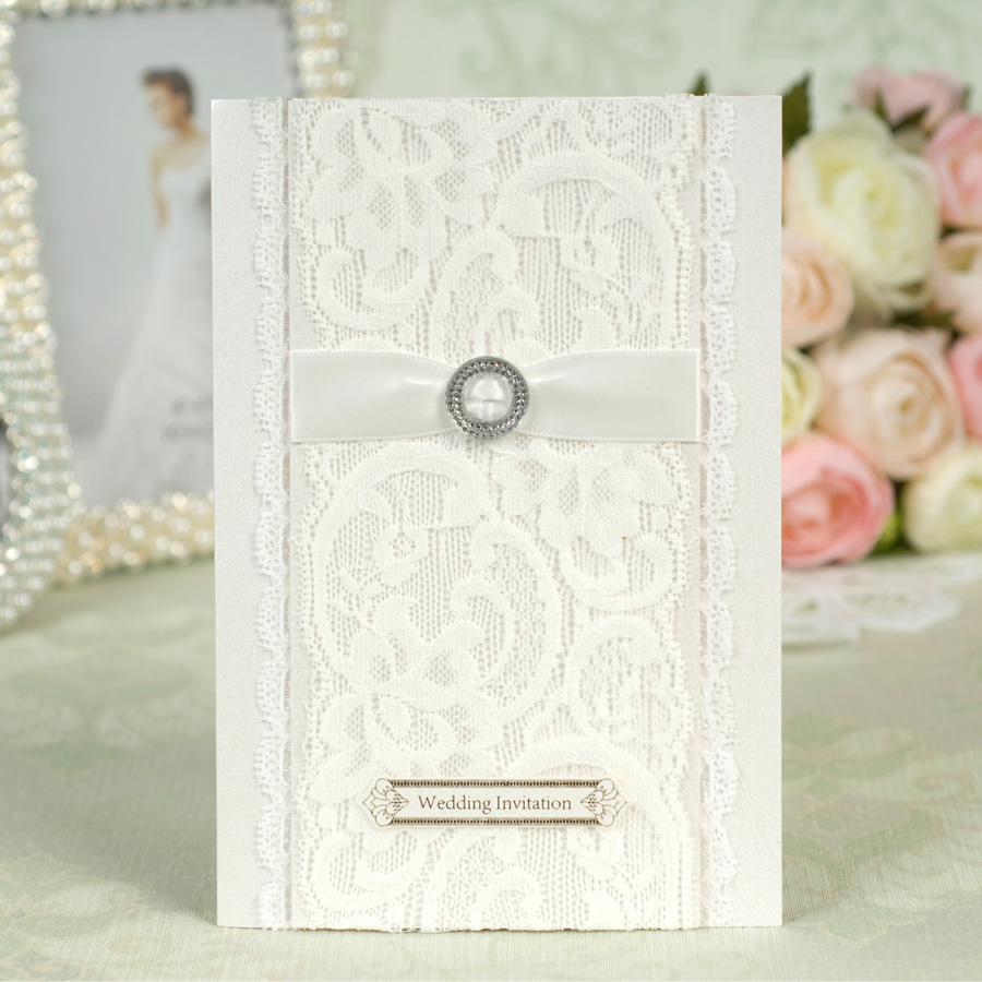 White Color Lace Wedding Invitation Card with elegant ribbon-in ...