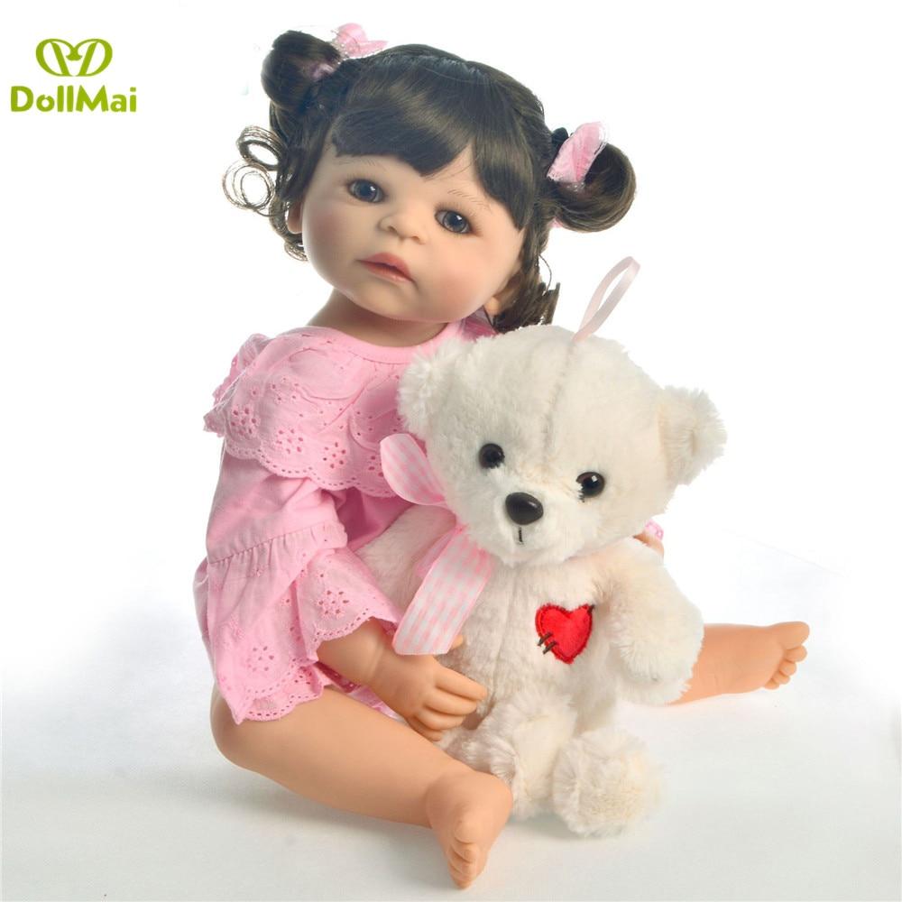 55 cm lisse silicone vinyle fille boneca cheveux bouclés bebes renaître bambin bébé poupées lol original enfants préféré jouet cadeau d'anniversaire - 4
