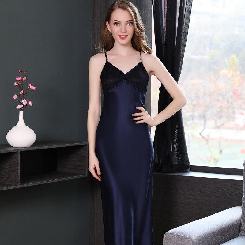 19 Mumi Genuine Silk Nightgowns Summer New Heavy Silk Sleepwear Women Navy Blue Sexy Lace Elegant Sling Long Sleepingdress