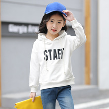 Купить с кэшбэком Girls Sweater 2019 Spring Autumn Children's Fashion Casual Solid Color Letter Pocket Girls Long Sleeve Hoodie Children's clothes