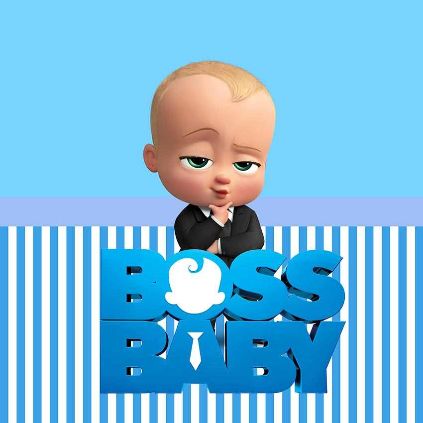Customize Boss Baby Shower 1st Birthday Party Backdrop For Boys White And Blue Striped Theme Backgrounds For Photo Studio
