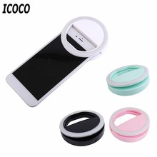 ICOCO 3 Modes 36LEDs Mobile Phone Selfie Light Clip-On LED Ring Flash Light Camera Photography Phone Light for Iphone Samsung