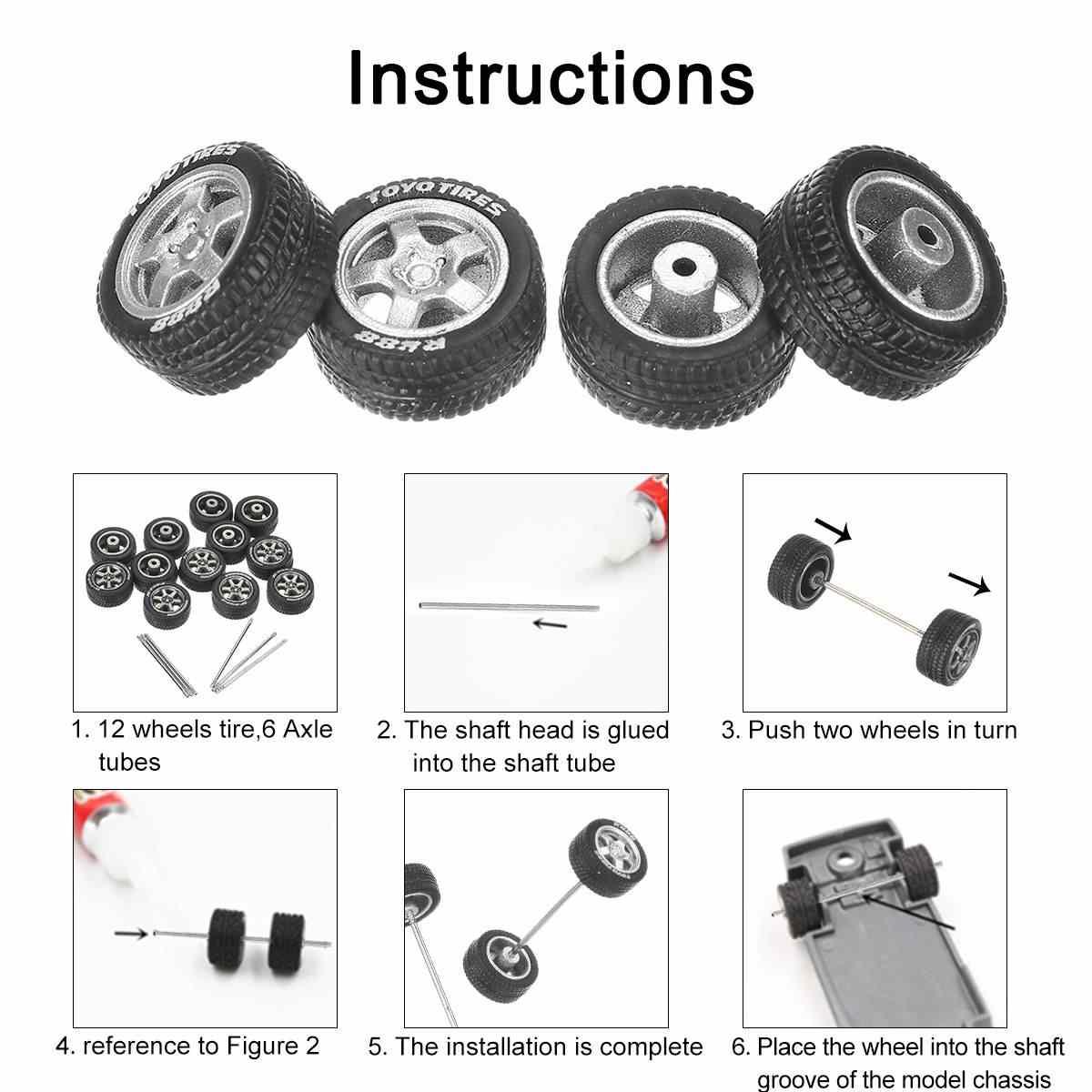 Can mash up 12PCS 1/64  Alloy Wheels Tire Set Axles Vehicle Wheels Tire Modified Alloy Car Refit Wheels For Vehicle Car Model