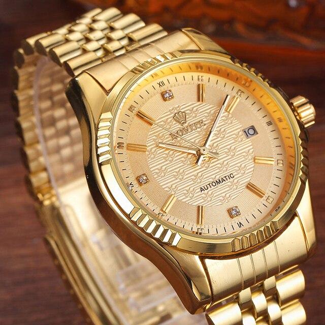럭셔리 골드 패션 남성 시계 캐주얼 크리스탈 다이얼 날짜 자동 기계 스테인레스 스틸 스포츠 손목 시계 남성 선물 용품