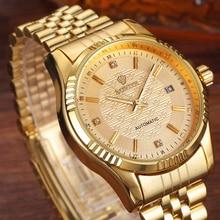 יוקרה זהב אופנה Mens שעונים קריסטל מקרית חיוג תאריך אוטומטי מכאני נירוסטה ספורט שעוני יד לגברים מתנות