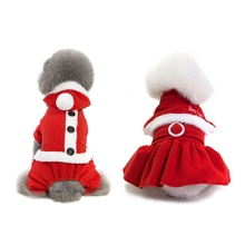 Chihuahua Dog Christmas Costume Clothes Winter For Small Soft Warm Pet Festive Dogbaby Dress