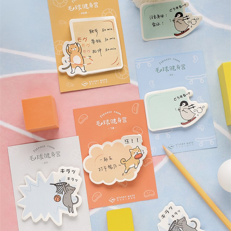 30 Sheets/pad Do Exercise Sticky Notes Kawaii Memo Pad Post Planner Sticker Scrapbooking Office Material Supplies