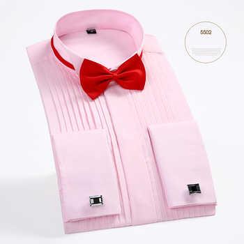 New Arrival Men\'s French Tuxedo Shirt Men Long Sleeve Dress Shirt Mens Solid Color Turn-Down Collar Shirt Formal Male Shirts