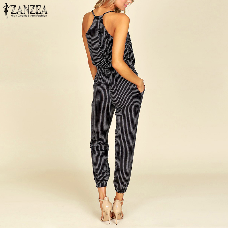 2018 Summer ZNAZEA Elegant Striped Slim Pencil Overalls Work OL Long Jumpsuits Women Casual Strappy V Neck Sleeveless Rompers
