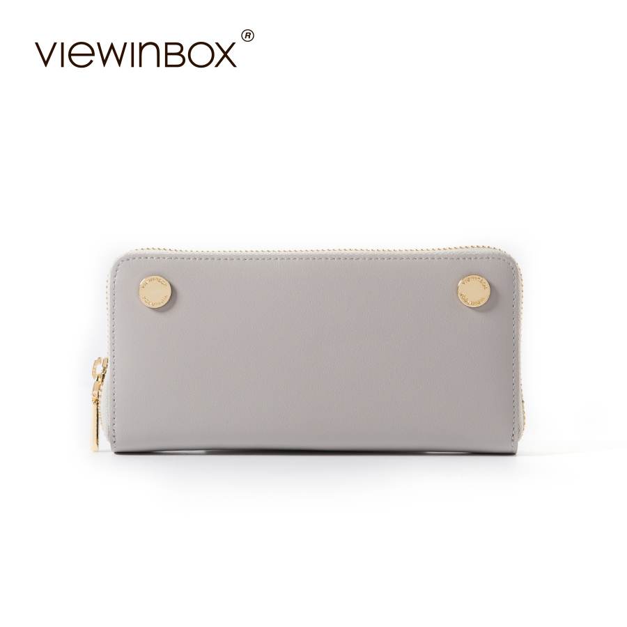 Viewinbox Brand Coin Purse Split Leather Women Wallet Purse Wallet Female Card Holder Long Lady Clutch Carteira Feminina
