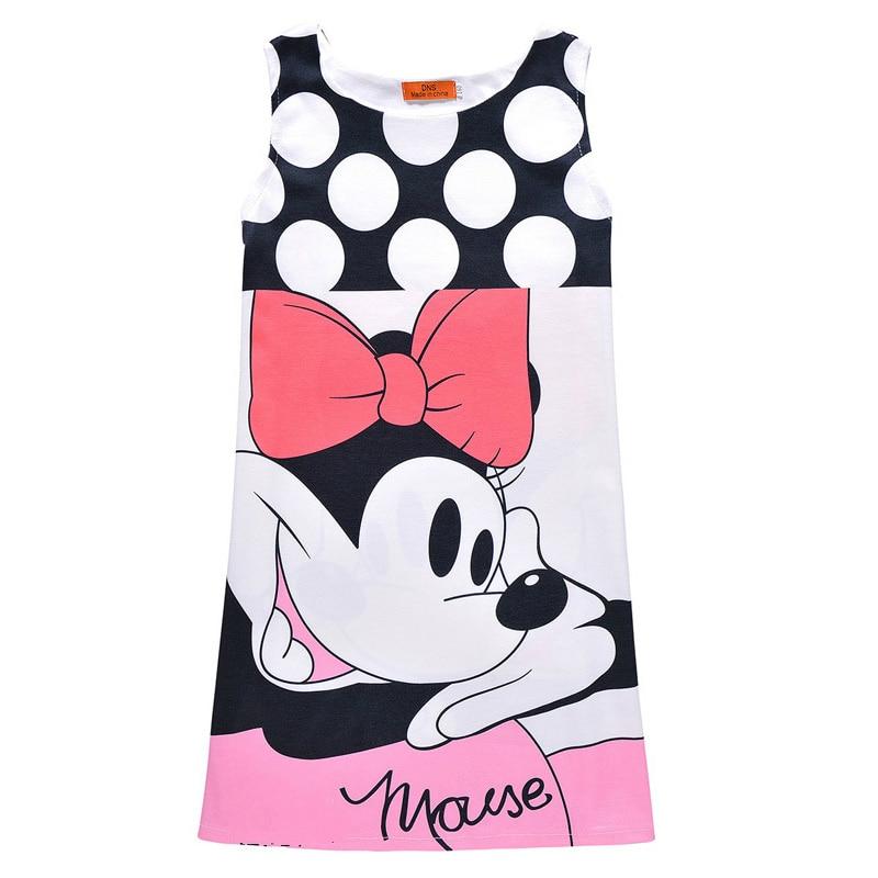Summer Girls Dress Cartoon Minnie Mouse Graffiti Butterfly Print Party Dress Princess Dress Vestidos Cute Kids Girls Dress simba пупс minnie mouse