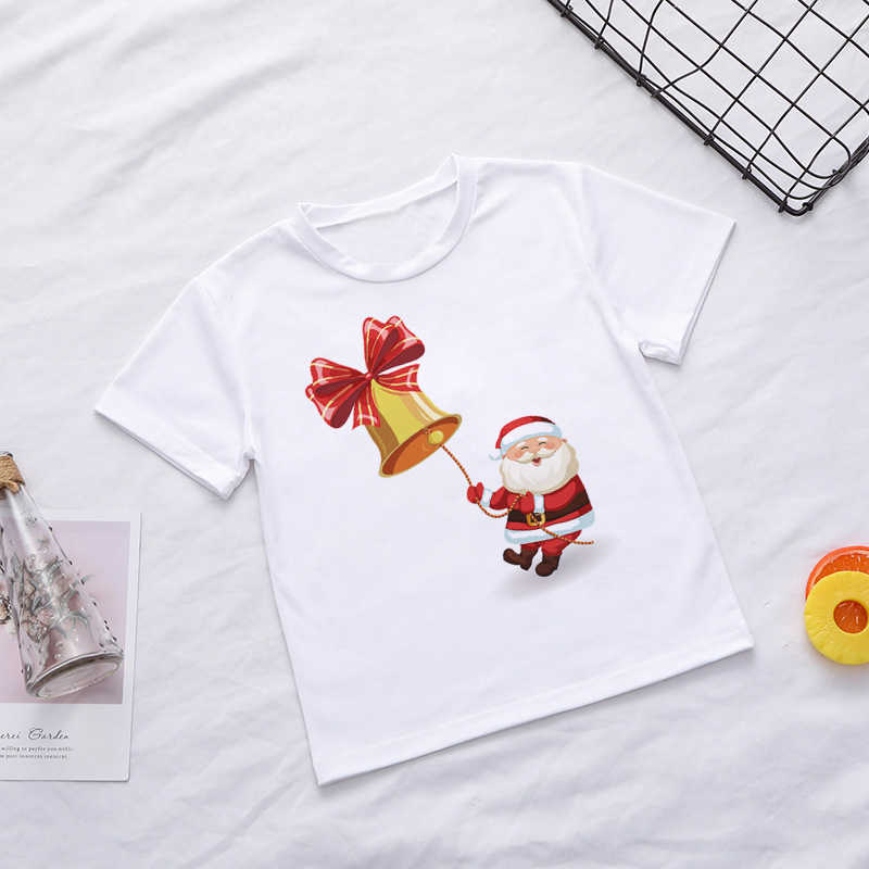 New Interesting Christmas Old Man Girls Tops Fashion Cartoon Funny Print T Shirt Boys Short Sleeve Kids White Clothes Round Neck
