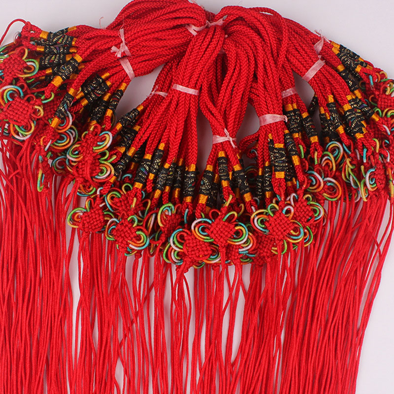 100 pcs DIY Chinese Knot Pendant New Year Decoration Friends Gifts Small Chinese Knot Hand knitted Colored Bow Chinese Knotting in Tassel Fringe from Home Garden