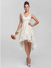 vestidos de festa Cheap Bridesmaid Dresses 2016 V-neck Asymmetrical Lace Wedding Party Dress