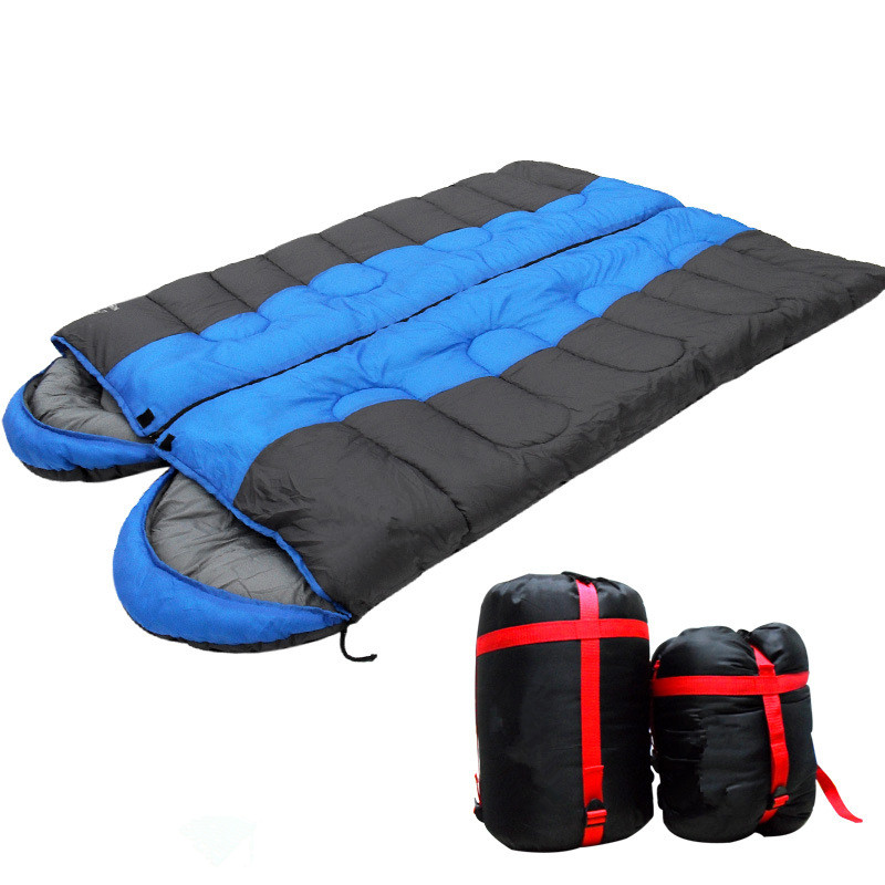 Wnnideo 1 Person Autumn Winter Thickening Warm Camping Outdoor Splicing Cotton Envelope Sleeping Bag with Cap Camping for Couple