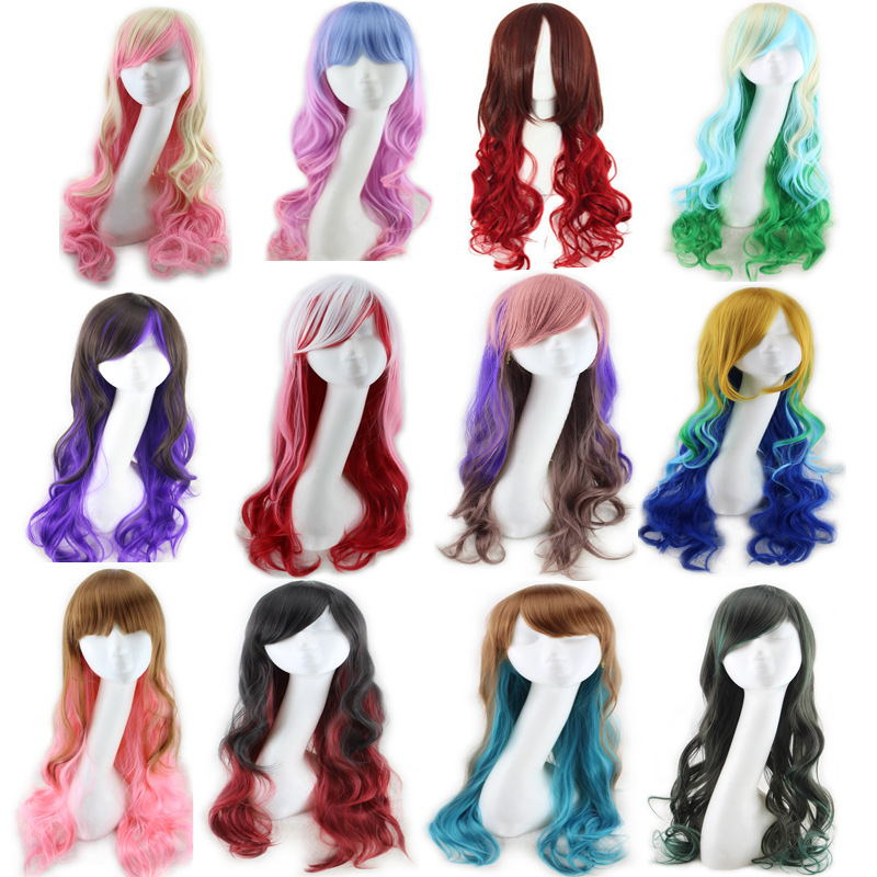 Harajuku Lolita Blue Pink Ombre Hair Wigs For Women Cheap Anime Cosplay Long Wavy Synthetic Wig With Bangs For Costume Party
