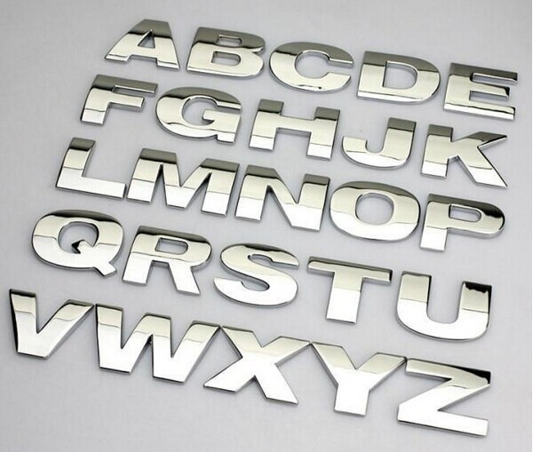 40pcs 3D Car Alphabet letter Number Symbol Emblem Badge Decal Stickers Steel Lot