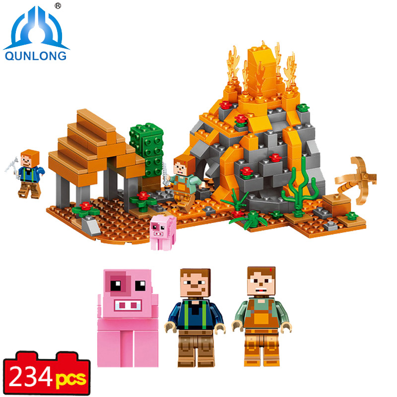 qunlong My World Volcano Village Building Blocks Compatible Legoe Minecraft Building Blocks For Boy Girl Action Figures Toy Gift qunlong 0521 my world volcano mine building blocks toy compatible legoe minecraft building block city educational boys toy gift