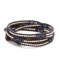 Lotus Mann 925 argent et bleu sodalite cristal ornement cinq tours naturel brun foncé en cuir cordon bracelet