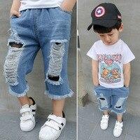 Cute Dear Boy Girls Hole Jeans Pants 1 6yrs Kids Trousers Autumn Fashion Designer Brand Children Denim Pants Casual Ripped Jeans