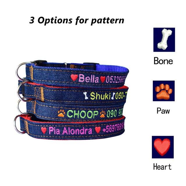 Collier brodé personnalisé pour chien et chiot | jeans dur, chaîne détiquette personnalisée pour téléphone et nom de téléphone pour petits caniches et grands