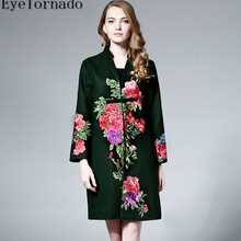 Women flower embroidery wool coat vintage long single breasted cashmere coat winter outwear casaco high quality 8643