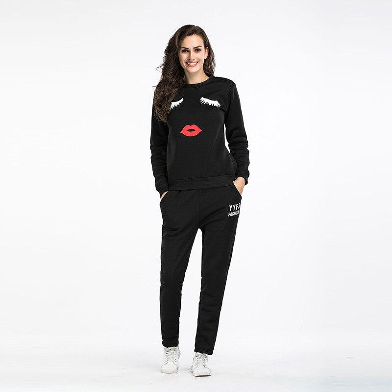 Women Sweatshirt Women's  Two-piece Suit  Autumn Winter Dresses Women's Euro-American  Letter Printed Large Size Sports Suit