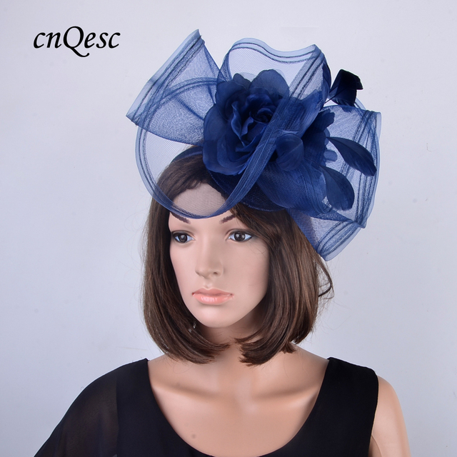 LARGE navy blue crin fascinator hair accessories with feathers and silk  flower for Kentucky Derby 7a4b6ca13ba