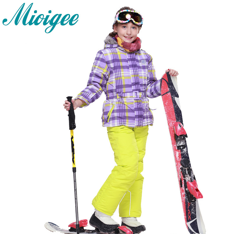 Mioigee 2017 Children Set Winter Warm Coat Sporty Ski Suit Kids Girls Clothes Waterproof Windproof Jackets Sets For Girls 2-7T 2016 winter boys ski suit set children s snowsuit for baby girl snow overalls ntural fur down jackets trousers clothing sets