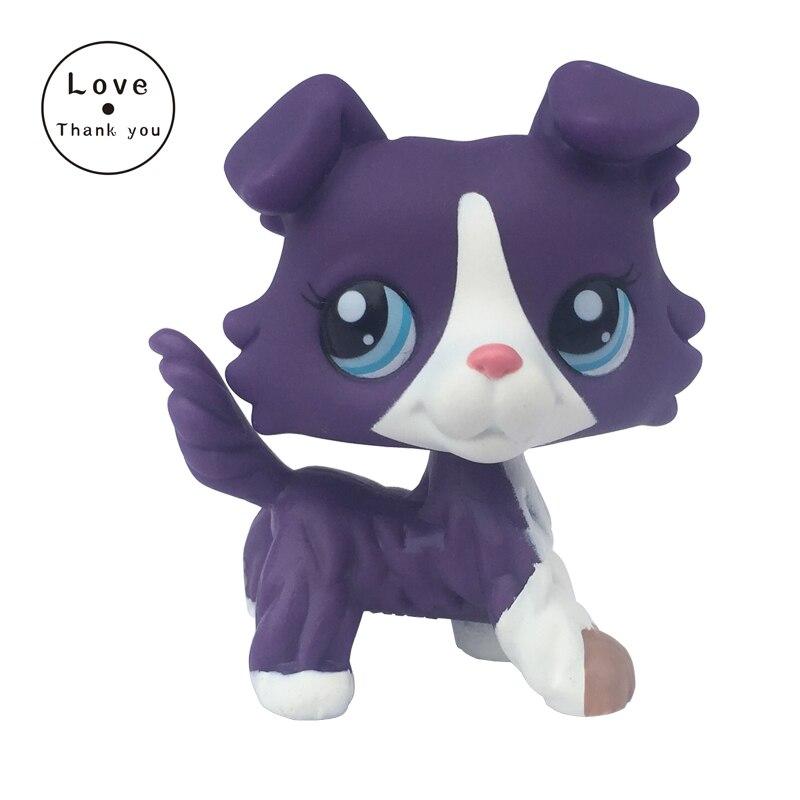 Rare font b pet b font shop lps toys Collie Dog Puppy 1676 Standing Purple White