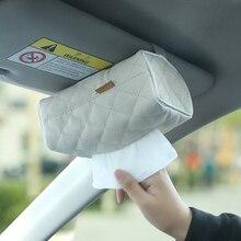 Styling PU caixa de tecido pala de Sol do carro caixa apoio de braço do assento de volta Pendurado tipo caixa de tecido Dobrável preto Bege acessórios em o carro