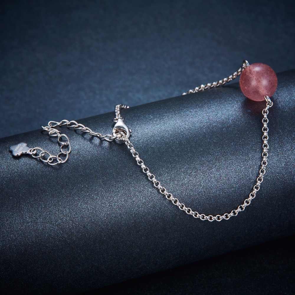 Hutang 925 стерлингового серебра регулируемые браслеты для женщин девушки натуральный драгоценный камень клубника кварцевые ювелирные изделия из аметиста лучший новый