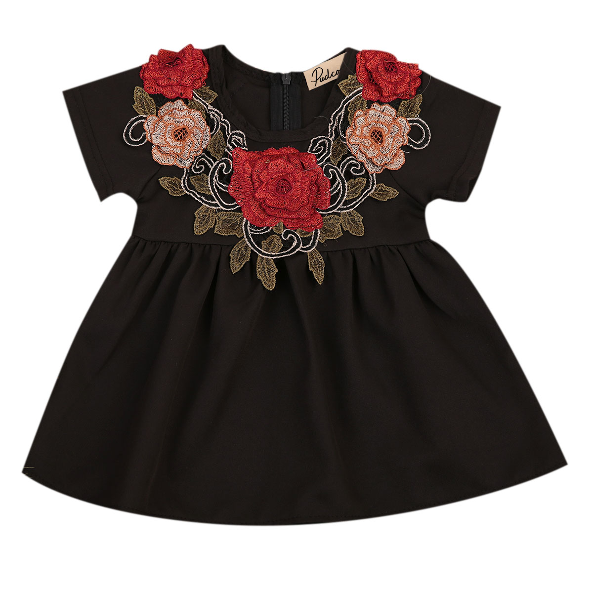 Summer Kids Baby Girl Embroidered Flower Dress Black Short Sleeve Floral Princess Party Holiday Dresses Infant Clothing 6M-4Y