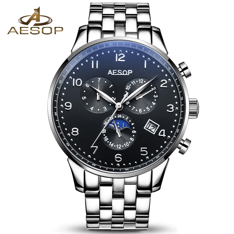 AESOP Brand Men Watch Automatic Mechanical Wristwatch Stainless Steel Strap Waterproof Black Male Clock Relogio Masculino Box 27 aesop brand fashion watch men automatic mechanical wristwatch hollow waterproof tungsten steel male clock relogio masculino 46