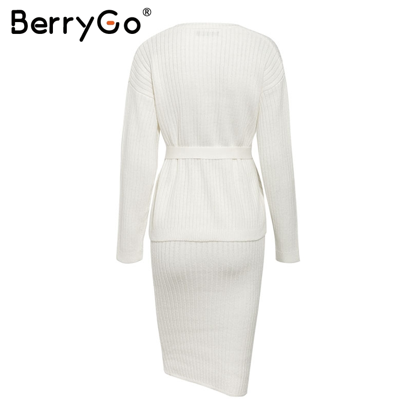 BerryGo Two-piece women knitted dress set Elegant autumn winter sweater dress suits Long sleeve button sashes female skirt suit 6