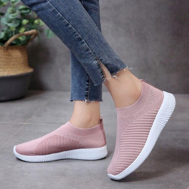 Kích Thước lớn 35-43 Phụ Nữ Giản Dị Đan Vớ Sneakers Căng Phẳng Nền Tảng Thời Trang Phụ Nữ Trượt Trên Giày phụ nữ lưu hóa giày
