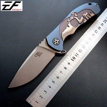 Chất lượng cao CH 3504 Gấp S35VN lưỡi dao thép không gỉ Dao Bỏ Túi TC4 Vòng Tay Titan Bi cắm trại dao
