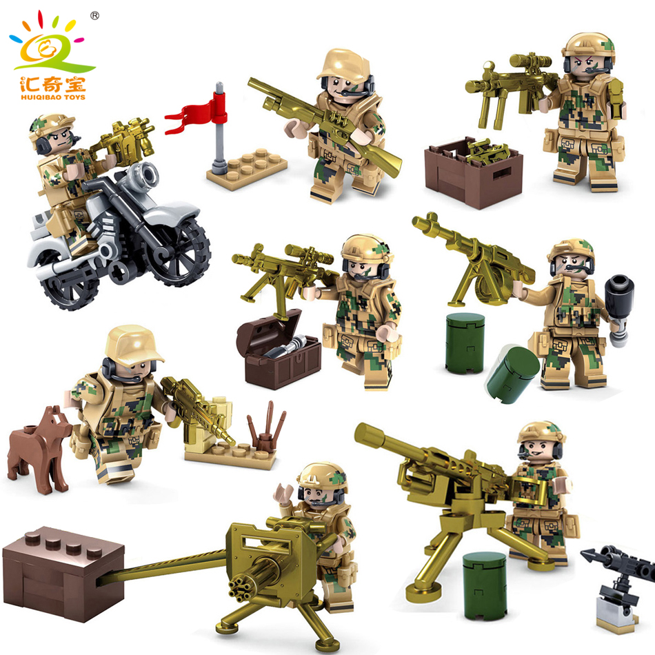 8pcs Military ww2 Army Soldiers Figures With Weapons Building Blocks Bricks Compatible Legoed Gifts Toys For Children Hobbies military city police swat team army soldiers with weapons ww2 building blocks toys for children gift