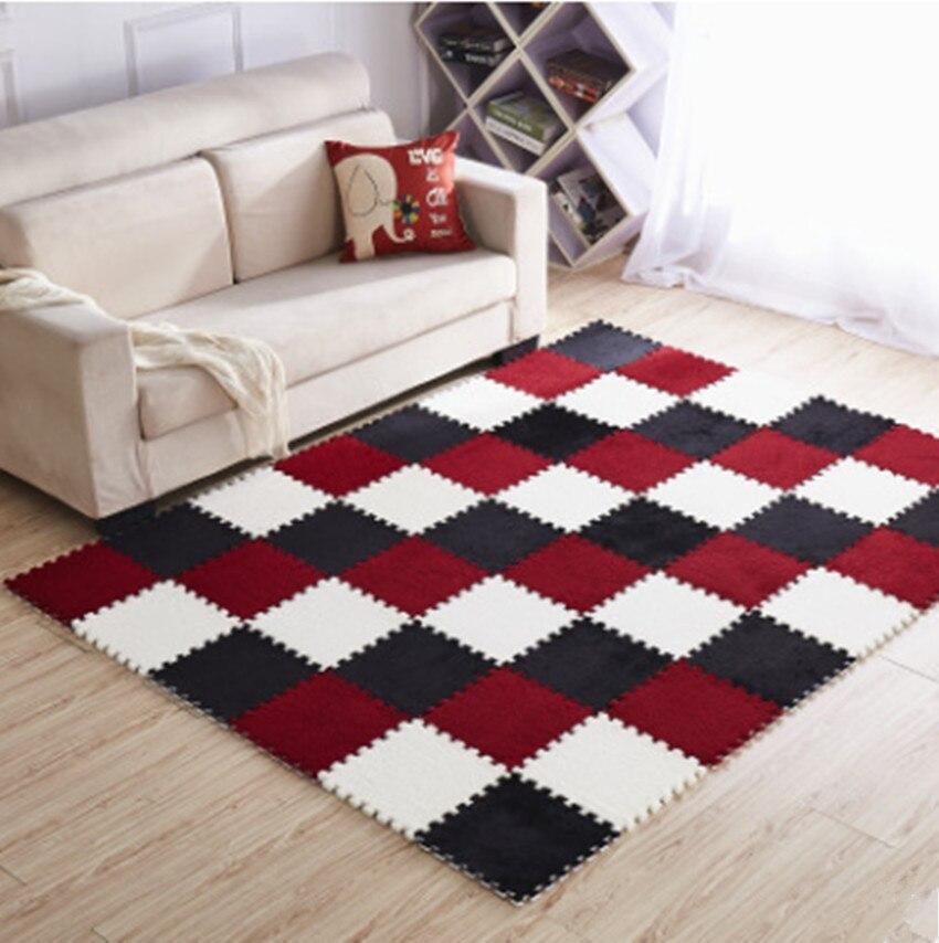 EVA Plush Puzzle play mats Foam Shaggy Velvet Carpet Decorative Kids Room 10Pcs