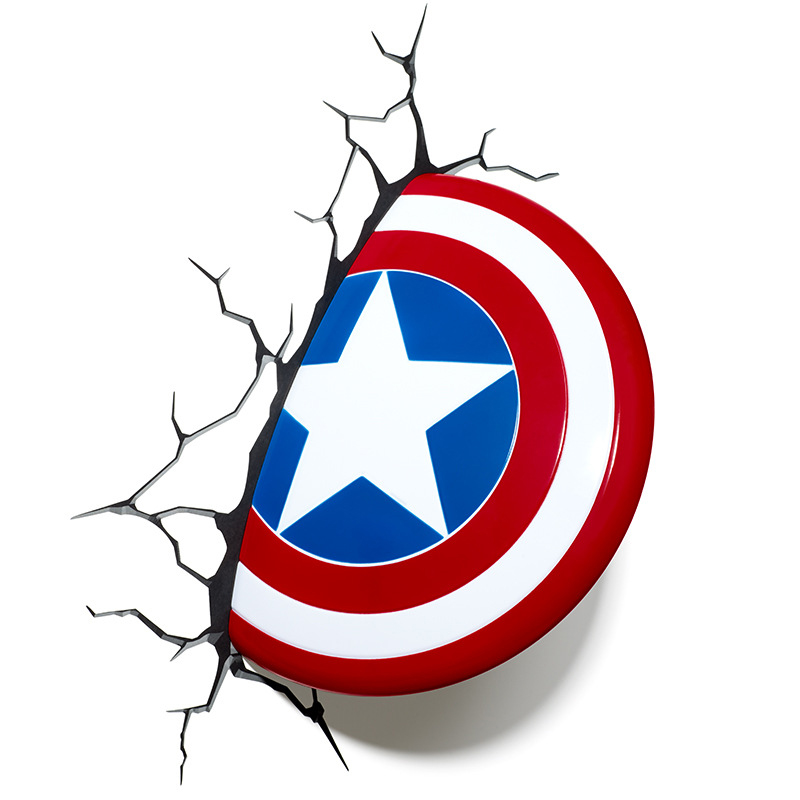 Marvel Avengers Captain America 3D Deco Light Shield bed led hammer wall lamp for kids&home decoration space shark 3d printing home wall hanging tapestry for decoration
