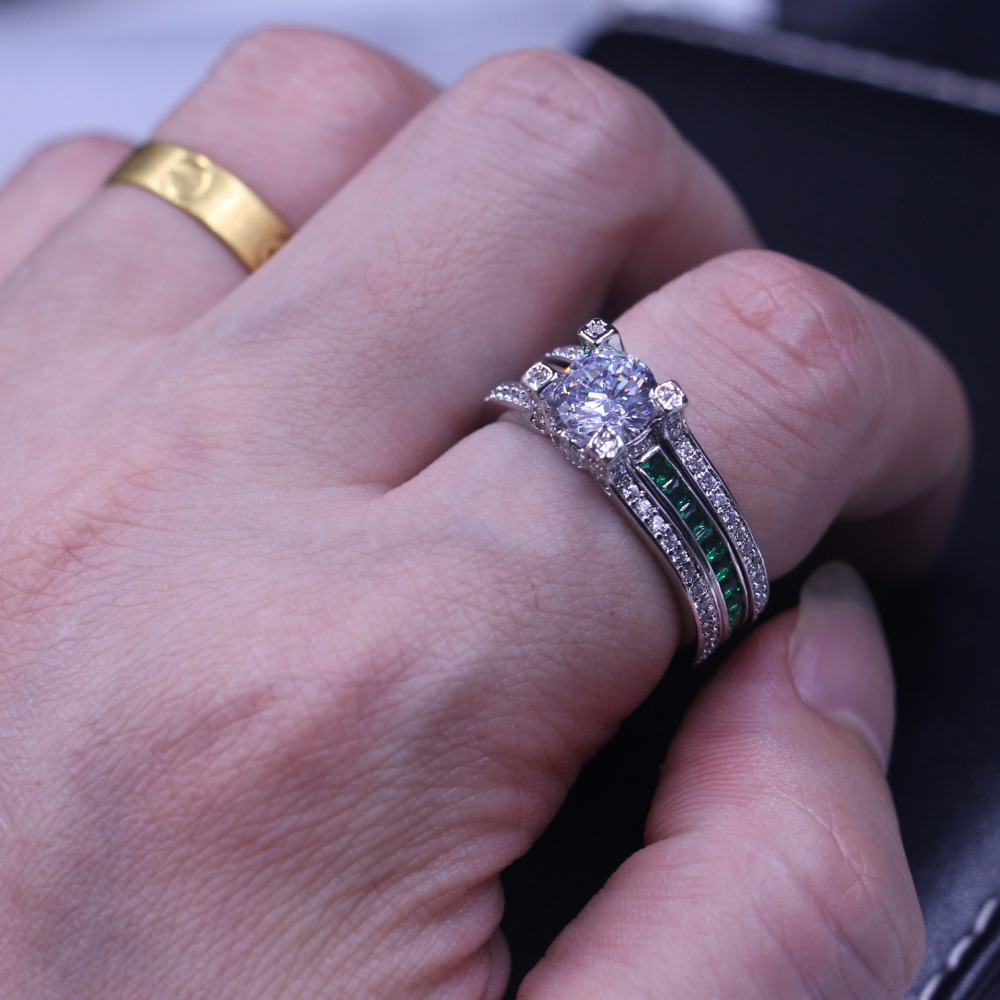 Vecalon feminino jóias de luxo anel de noivado verde aaaaa zircon cz 925 prata esterlina anel de casamento conjunto para mulher - 6